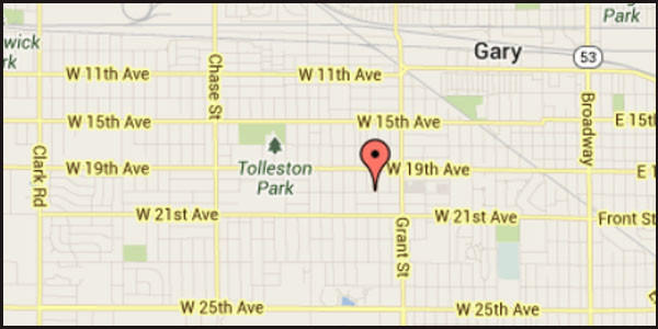 Map of location of where a man was found shot to death in Gary, Ind.