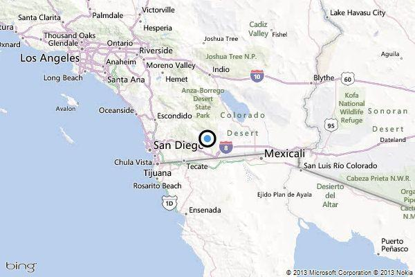 A map showing the location of the epicenter of Saturday morning's quake near Pine Valley, California.