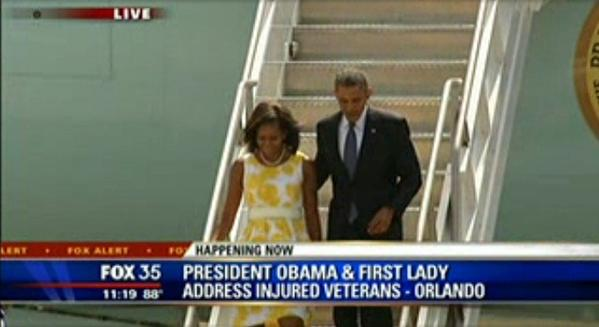 Barack Obama and Michelle Obama arrived in Orlando shortly after 11:15 a.m. on Saturday.