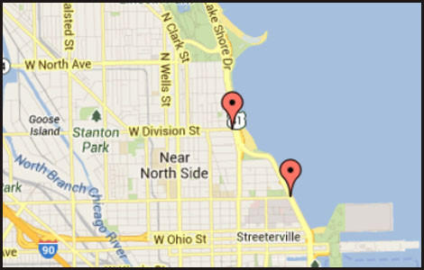 Map of locations of Lake Shore Drive closures scheduled for Sunday morning.