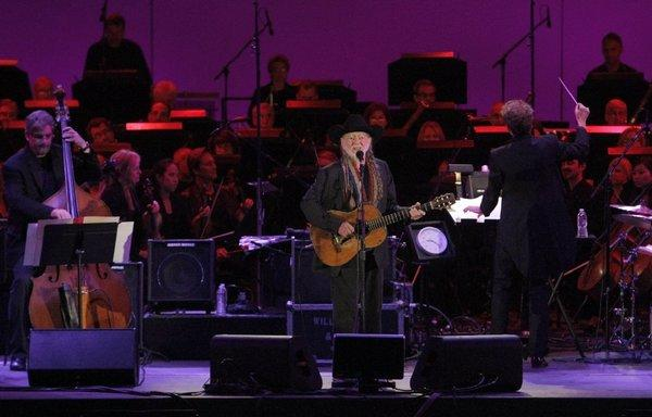 "Willie Nelson performs the entirety of his album ""Stardust"" at the Hollywood Bowl on Friday night."