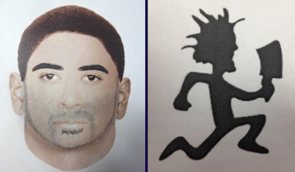 A sketch (left) of one of two men who attacked and beat into unconsciousness a woman in Schaumburg early Friday, and tatoo that the other man had on the right side of his neck.