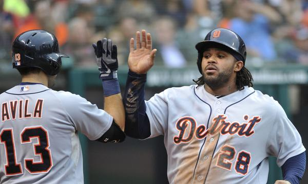 Detroit Tigers first baseman Prince Fielder, right, is congratulated by teammate Alex Avila after scoring a run against the Cleveland Indians on Thursday. Are the Tigers destined to win the AL Central?