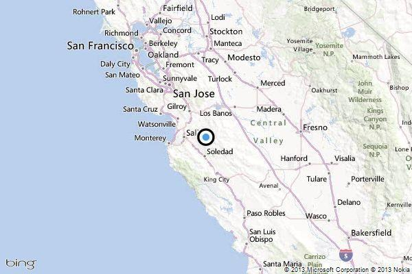 A map showing the location of the epicenter of Saturday afternoon's quake near Ridgemark, Calif.