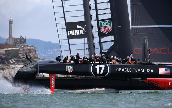 Oracle Team USA practices before the start of Louis Vuitton Cup semifinal race in San Francisco Bay on Friday.