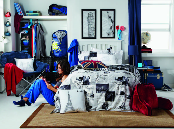 "Millenials heading off to college are more concerned about creating a ""retreat"" space in their highly decorated dorm rooms. This image from Bed Bath and Beyond is an adertisement that speaks to such a shopper."
