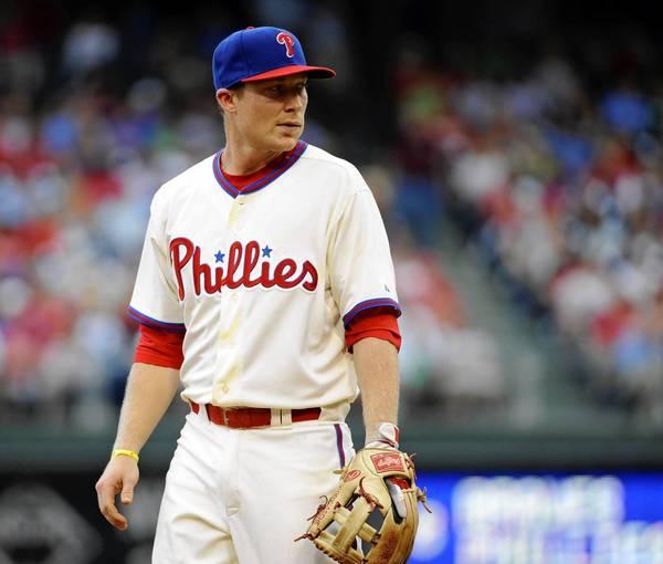 Aug 3, 2013; Philadelphia, PA, USA; Philadelphia Phillies third baseman Cody Asche (25) during game against the Atlanta Braves at Citizens Bank Park.