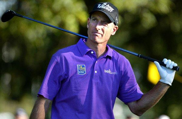 Jim Furyk watches his tee shot at No. 18 during the third round of the PGA Championship on Saturday at Oak Hill Country Club in Rochester, N.Y.