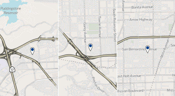 Approximate locations of three shootings in the Pomona area.