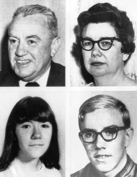 Gordon and Elizabeth Wolcott, top row, and their daughter, Elizabeth, were slain in 1967 by James Wolcott, who was 15 at the time and diagnosed with paranoid schizophrenia.