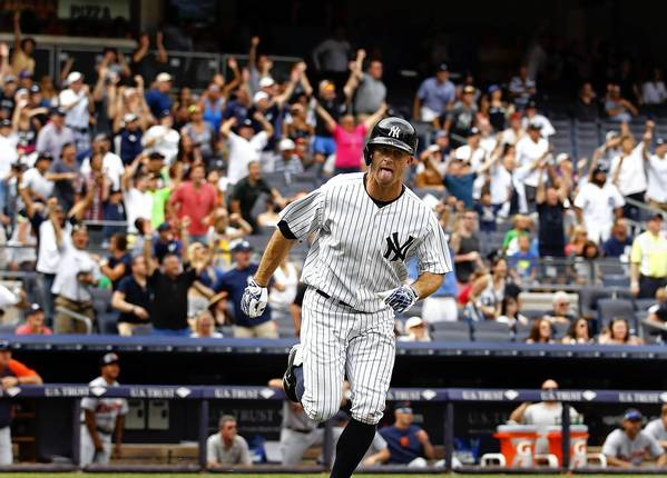 New York Yankees' Brett Gardner reacts after hitting a walkoff solo home run to defeat the Detroit Tigers on Sunday.