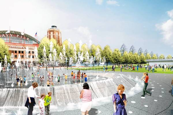 An architect's rendering of a fountain planned for Navy Pier's Gateway Park.
