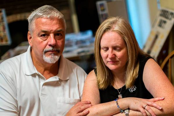 """John and Kathleen Kocher mourn the death of their son, Matthew, at their home in Tinley Park. Matthew, 15, drowned in Lake Michigan. RIP trolls mocked the Facebook page set up in his memory. """"How could somebody want to be so evil, so vile?"""" asks John Kocher."""