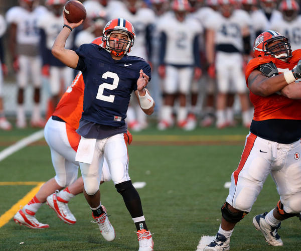 Illinois quarterback Nathan Scheelhaase makes a pass during a team practice in March.