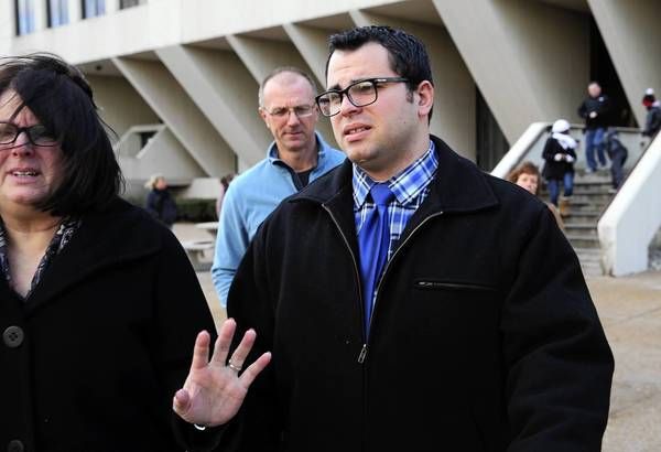 Joseph Messina, seen leaving the courthouse after being convicted on three counts of aggravated battery on Jan. 3 in Joliet, was sentenced to 30 months of probation.