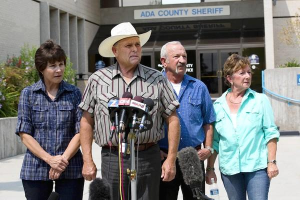 Standing in front of the Ada County Sheriff's Office in Boise, Idaho, are witnesses, from left, Mary Young, Mike Young, Mark John and Christa John. The couples' sighting of James DiMaggio and Hannah Anderson led to the girl's rescue.