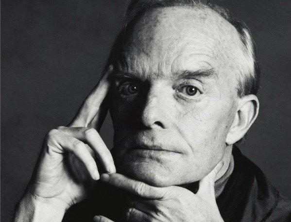 A detail of a portrait of writer Truman Capote taken by photographer Irving Penn.