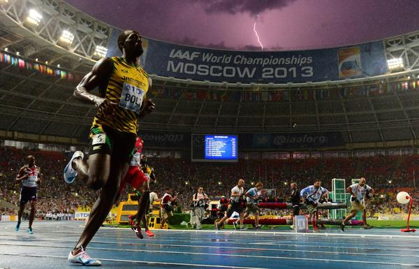 Lightning bolt strikes as Usain Bolt wins world title