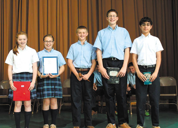 St. Mary Catholic School in Hagerstown elected student council officers for the 2013-14 school year. From left are Vice President Meghan Scott, Secretary Emma Ortiz, President Seamus Murray, Treasurer Jared Semler and Parliamentarian Nader Fawaz.