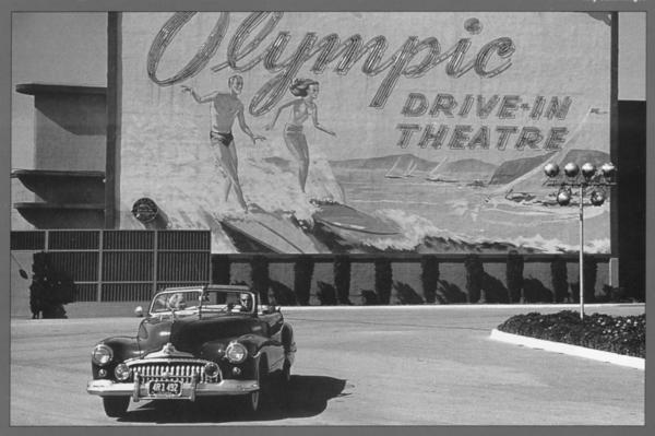"The Olympic Drive-In, formerly on Olympic Boulevard in the Sawtelle neighborhood of Los Angeles, is long gone. But Honda hopes to save at least a few remaining drive-in theaters from meeting the same fate. The photo is from the book ""Drive-In Movie Memories"" by Don and Susan Sanders."