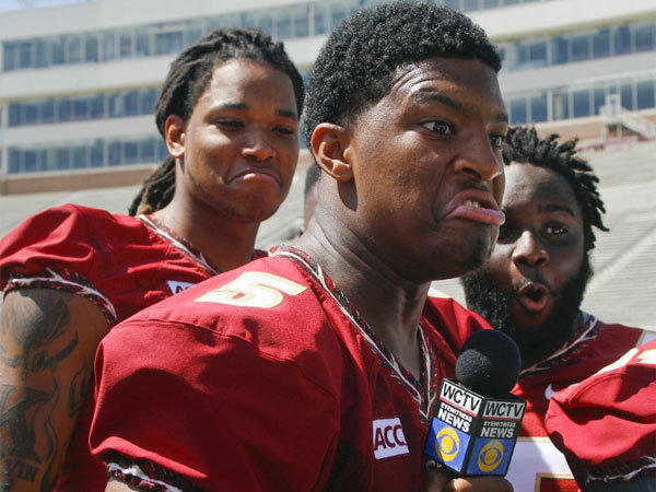 Florida State quarterback Jameis Winston jokes around during team media day on Sunday.