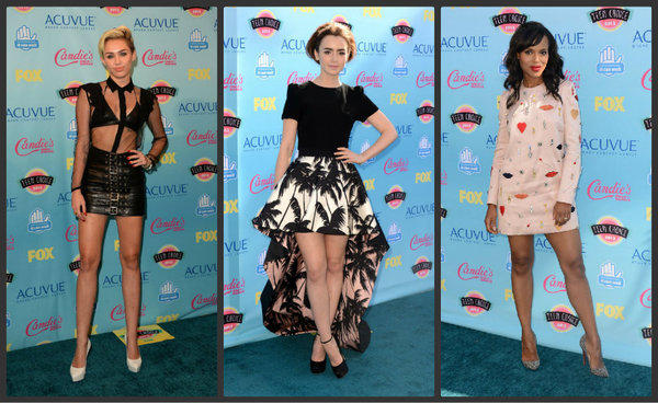 Singer Miley Cyrus, actress Lily Collins and actress Kerry Washington attend the Teen Choice Awards at the Gibson Amphitheatre in Universal City.