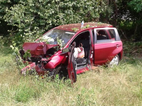 This SUV was heavily damaged in an accident on Interstate 70 east of Hancock on Monday morning.