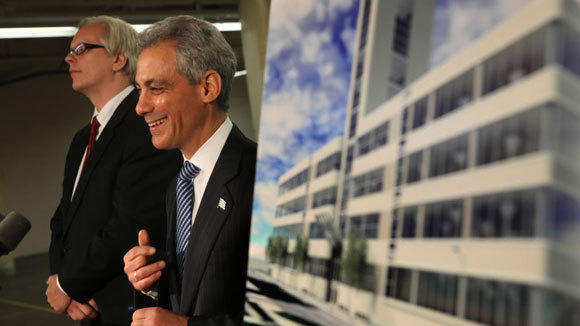 Mayor Rahm Emanuel and Jan Bennink, executive chairman, Sara Lee Corp. announce the company's plan to move its headquarters to 400 S. Jefferson St. in Chicago in a 2011 file photo.