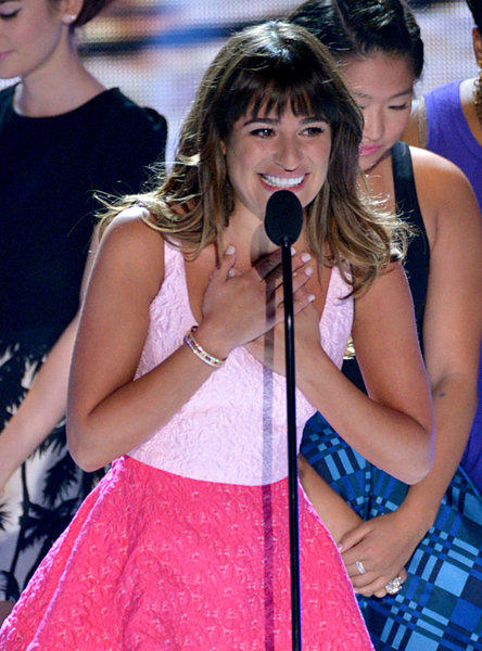 "Actress Lea Michele thanked fans for their support following the death of ""Glee"" co-star and boyfriend Cory Monteith, on stage at the Teen Choice Awards at the Gibson Amphitheater. It was her first public appearance since his death."