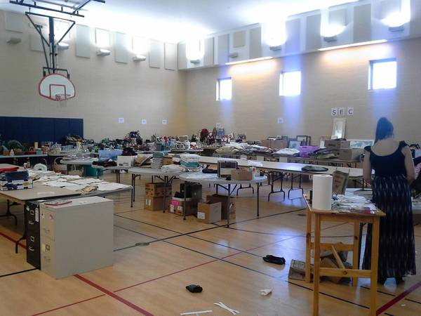 Donated items fills the gym at the McClennan Center for Youth at 3080 W. Lake Ave. in Glenview.