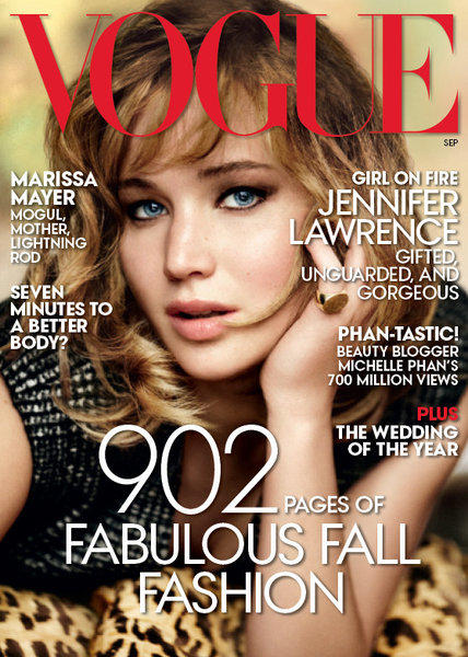 """Hunger Games,"" ""X-Men"" and ""American Hustle"" star Jennifer Lawrence lands on the cover of Vogue's September 2013 issue."