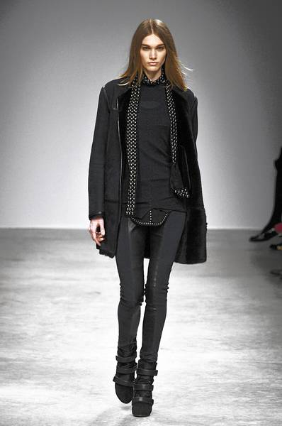 Designer Isabel Marant's fall collection features paneled black leggings.