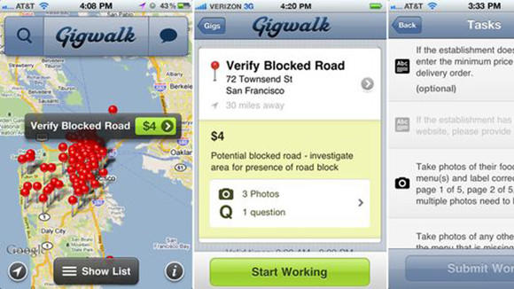 Screenshots of the Gigwalk smartphone application, which shows temporary work in a user's vicinity.