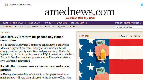 A screen grab of the American Medical News website, which will fold along with its companion print publication.