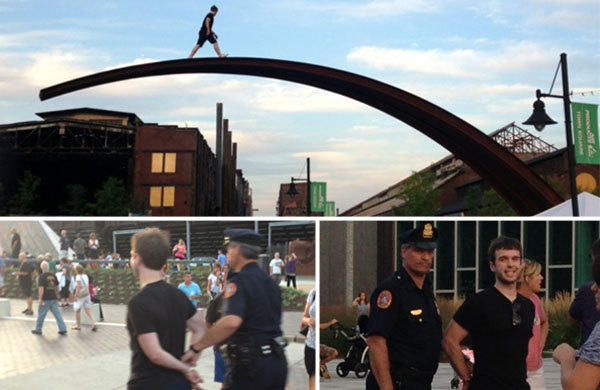 "A man identified by police as 27-year-old Timothy Walter of Easton climbs a structure known as ""The Bridge"" at SteelStacks during Musikfest last Saturday. Walter was arrested and faces charges of public drunkenness and disorderly conduct, police said."