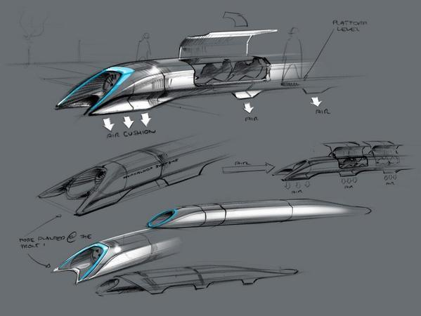 Entrepreneur Elon Musk showed designs for a Hyperloop mass transit system but warned that he doesn't plan to build it anytime soon.