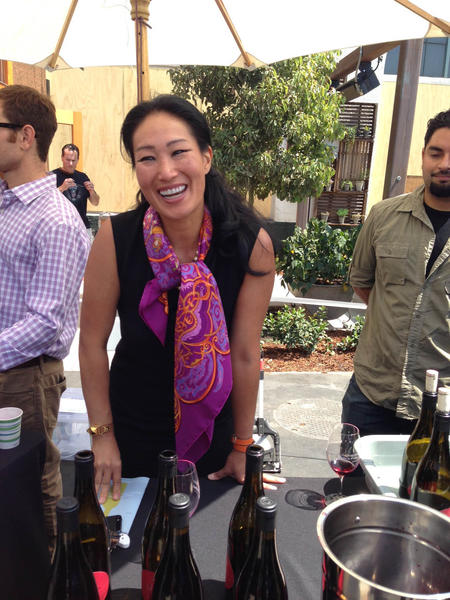 Jenni Bonaccorsi pours her Pinot Noirs at the Santa Barbara County Wine Futures Tasting at the new wine shop and wine bar Les Marchands in Santa Barbara's Funk Zone.
