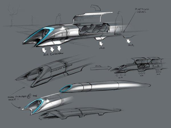 This handout photo released by Tesla Motors on Monday shows the concept drawing of the Hyperloop, a fast transport design unveiled that day by Elon Musk.