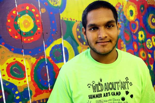 Sagar Patel, at the Mount Dora Center for the Arts, has been a student volunteer at the Mount Dora Center for the Arts since 2009.