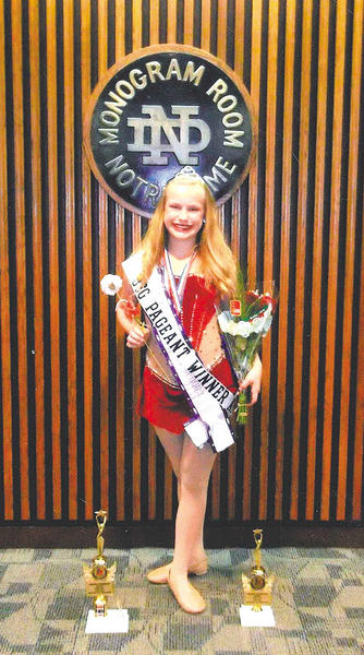 Claudia Amelia Needy was crowned the 2013 Beginner Preteen Miss Majorette of America at the America Youth On Parade national competition at South Bend, Ind.