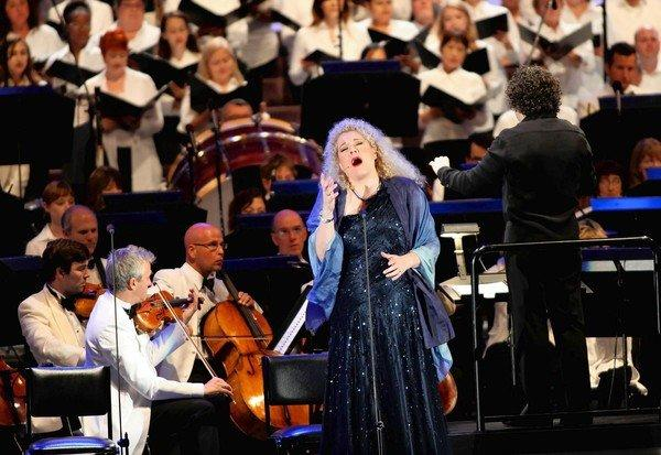 "Gustavo Dudamel began his short summer residence at the Hollywood Bowl with Verdi's ""Aida."" Michelle DeYoung performs during the second act as Dudamel leads the L.A. Philharmonic."
