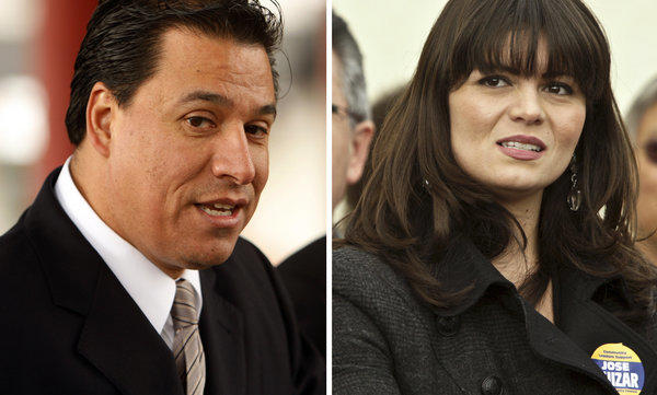 A Feb. 15, 2012, photo of Los Angeles City Councilman Jose Huizar and a Jan. 8, 2010, image of his then-deputy chief of staff, Francine Godoy. Huizar has denied allegations in a complaint against him by Godoy.