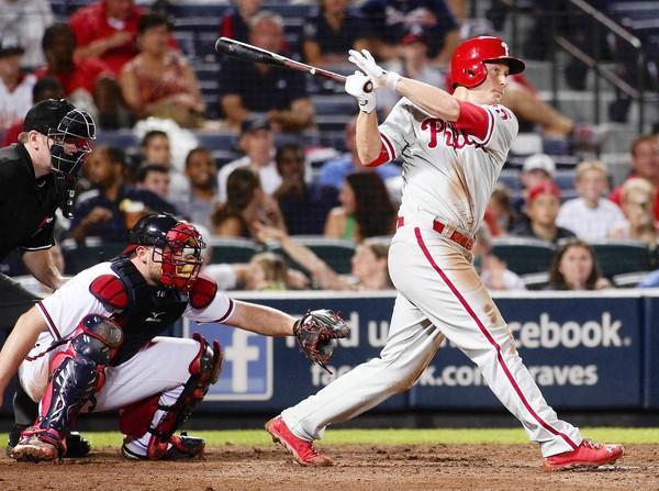 Former IronPig Cody Asche hits a three-run home run in the Phillies' win over Atlanta on Monday night.