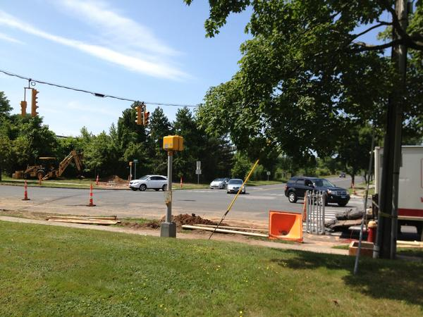 For the past few weeks, crews have been working at installing underground conduits for new computer synchronized traffic lights.