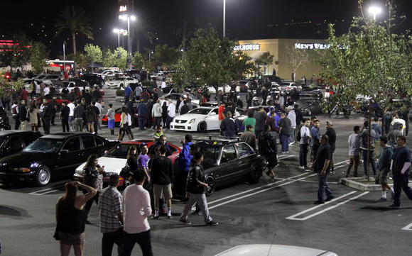 "Burbank police are preparing for a car enthusiast ""flash mob"" similar to the one that took place at the Empire Center in November, above."