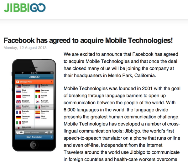 Mobile Technologies, a speech recognition and translation company, announced that it was purchased by Facebook.