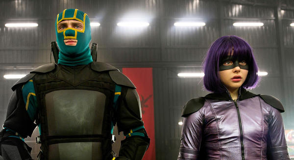 Young masked hero Kick-Ass, Aaron Taylor-Johnson, left, and the blade weilding Hit Girl, Chloe Grace Moretz, return.