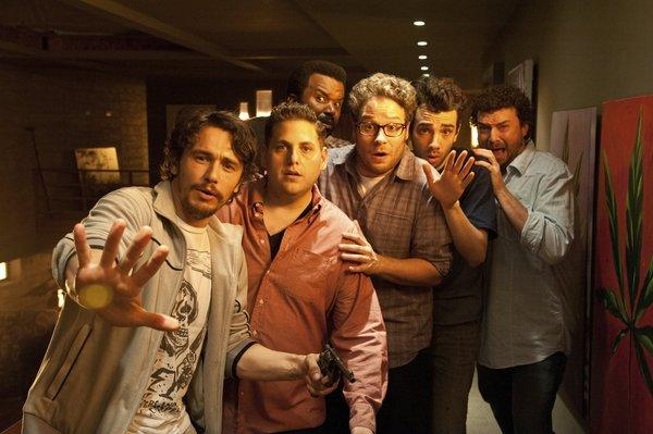 "From left, James Franco, Jonah Hill, Craig Robinson, Seth Rogen, Jay Baruchel and Danny McBride in ""This is the End."" Hill has been signed as a roaster for the Comedy Central roast of Franco."