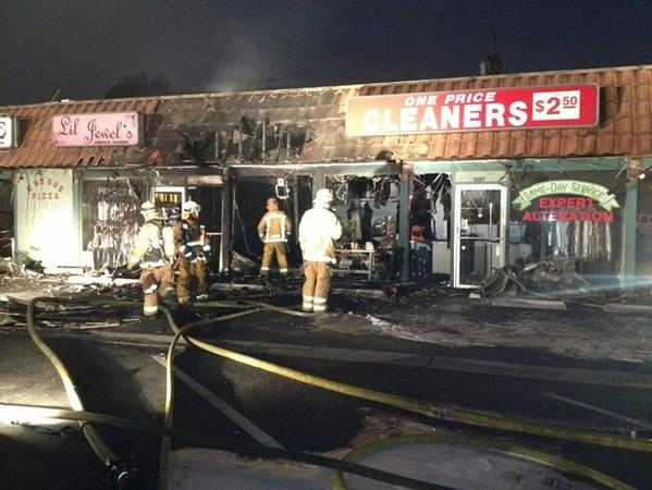 An early morning fire in a strip mall in Burbank damaged 11 businesses.
