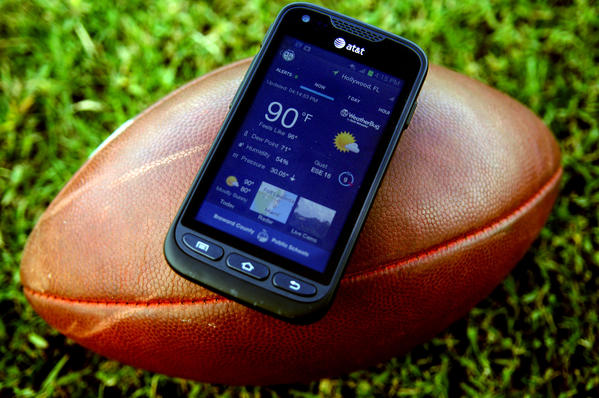 To better protect students from the dangers of lightning storms, every Broward School, including Everglades High School, has received an upgraded detection device. This is one of the new android WeatherBug tracking devices.